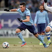 NEW YORK, NEW YORK - March 18:  Jack Harrison #11 of New York City FC goes past Hernan Bernardello #30 of Montreal Impact in action during the New York City FC Vs Montreal Impact regular season MLS game at Yankee Stadium on March 18, 2017 in New York City. (Photo by Tim Clayton/Corbis via Getty Images)