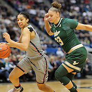 HARTFORD, CONNECTICUT- JANUARY 10: Gabby Williams #15 of the Connecticut Huskies in action while defended by Tamara Henshaw #23 of the South Florida Bulls during the the UConn Huskies Vs USF Bulls, NCAA Women's Basketball game on January 10th, 2017 at the XL Center, Hartford, Connecticut. (Photo by Tim Clayton/Corbis via Getty Images)