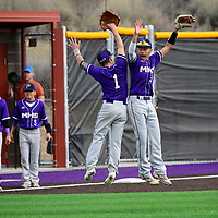 Jason Cordova (1) and Daniel McDonald (3) leap in celebration Friday after the Miyamura Patriots defeated the Bloomfield Bobcats 6-1 during their first game on their new baseball field located at the Miyamura High School campus in Gallup.
