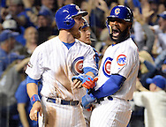CHICAGO, IL - OCTOBER 15:  Jason Heyward #22 and Ben Zobrist #18 celebrate after Miguel Montero #47 of the Chicago Cubs hit a grand slam home run in the eighth inning off of Joe Blanton #55 of the Los Angeles Dodgers during Game 1 of NLCS at Wrigley Field on Saturday, October 15, 2016 in Chicago, Illinois. (Photo by Ron Vesely/MLB Photos via Getty Images)  *** Local Caption *** Miguel Montero; Joe Blanton; Jason Heyward; Ben Zobrist