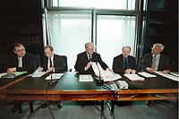 16 MAY 2001, BERLIN/GERMANY:<br /> Dr. Henrik-Michael Ringleb, Krupp-Thyssen, Dr. Klaus Kohler, Deutsche Bank, Bernd Reuter, MdB, SPD, Dr. Eckart Suenner, BASF, und Dr. Hans-Viggo von Huelsen, Volkswagen AG, (v.L.n.R.), vor einem Gespraech zwischen Vertretern der Wirtschaft und Abgeordneten des Deutschen Bundestages zur Entschaedigung von Zwangsarbeitern, Deutscher Bundestag<br /> IMAGE: 20010516-02/01-20<br /> KEYWORDS: Eckart Sünner, Hans-Viggo Hülsen, Gespäch, Entschädigung, Stiftungsinitiative der deutschen Wirtschaft