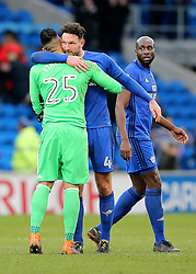 "Cardiff City's Sean Morrison celebrates the 1-0 win with Goalkeeper Neil Etheridge at full time during the Sky Bet Championship match at The Cardiff City Stadium. PRESS ASSOCIATION Photo. Picture date: Saturday February 17, 2018. See PA story SOCCER Cardiff. Photo credit should read: Mark Kerton/PA Wire. RESTRICTIONS: EDITORIAL USE ONLY No use with unauthorised audio, video, data, fixture lists, club/league logos or ""live"" services. Online in-match use limited to 75 images, no video emulation. No use in betting, games or single club/league/player publications."