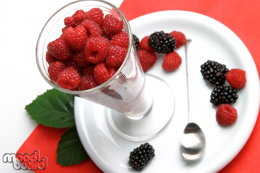 Studio shot of raspberry dessert