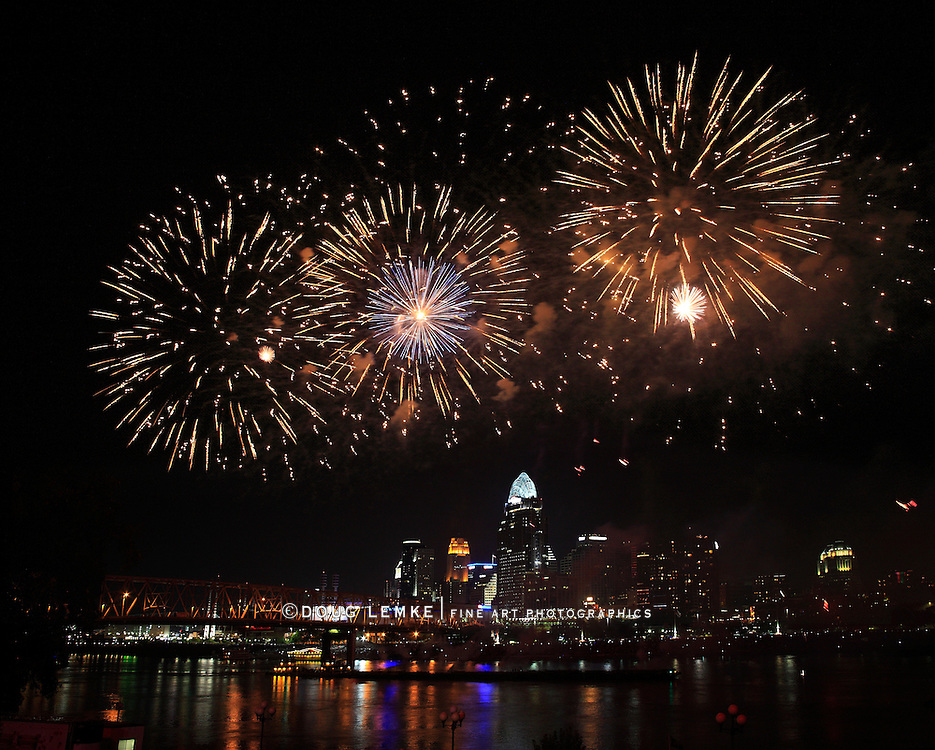 Fireworks Bursting Over The City Of Cincinnati And The Ohio River During The Labor Day Fireworks Show, 2013, Cincinnati Ohio, USA
