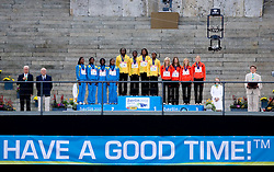 (L-R) The Bahamas receive the silver medal, Jamaica the gold medal and Germany the bronze medal during the medal ceremony for the women's 4x100 Metres Final during day nine of the 12th IAAF World Athletics Championships at the Olympic Stadium on August 23, 2009 in Berlin, Germany. (Photo by Vid Ponikvar / Sportida)