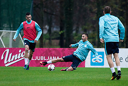 Miral Samardzic, Andraz Sporar during Practice session of Slovenia team before World Cup Qualifying football match against National teams of Malta, on November 7, 2016 in NNC Brdo pri Kranju, Slovenia. Photo by Vid Ponikvar / Sportida