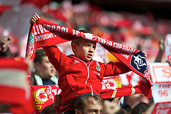 LONDON, ENGLAND - Saturday, May 5, 2012: A young Liverpool supporter before the FA Cup Final against Chelsea at Wembley. (Pic by David Rawcliffe/Propaganda)