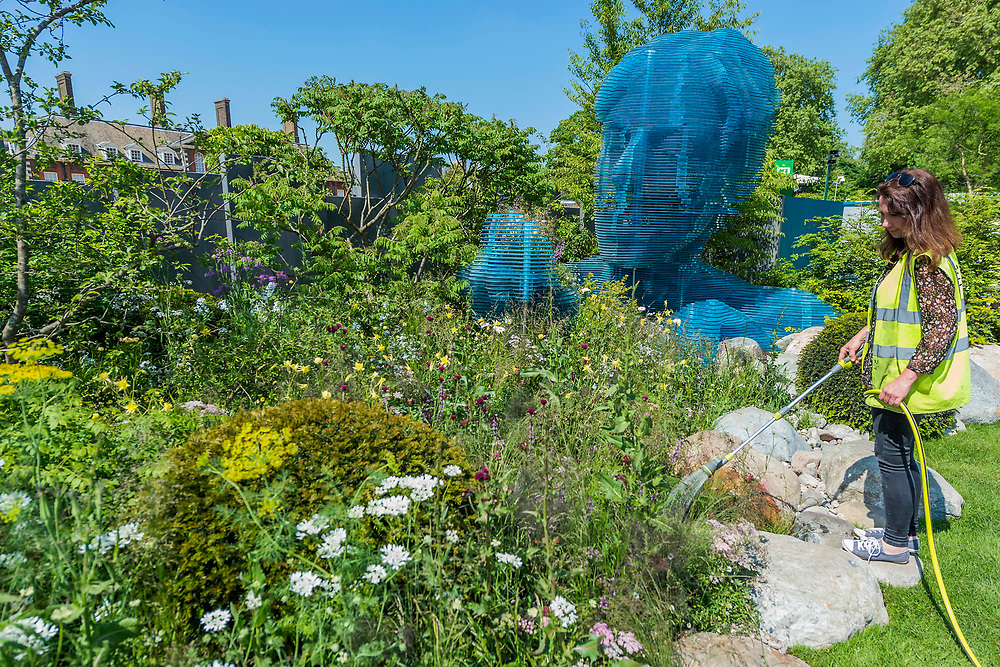 The Myeloma UK Garden, Sponsor: Myeloma UK, Designer: John Everiss & Francesca Murrell andContractor: Peter Gregory LandscapesThe RHS Chelsea Flower Show at the Royal Hospital, Chelsea.