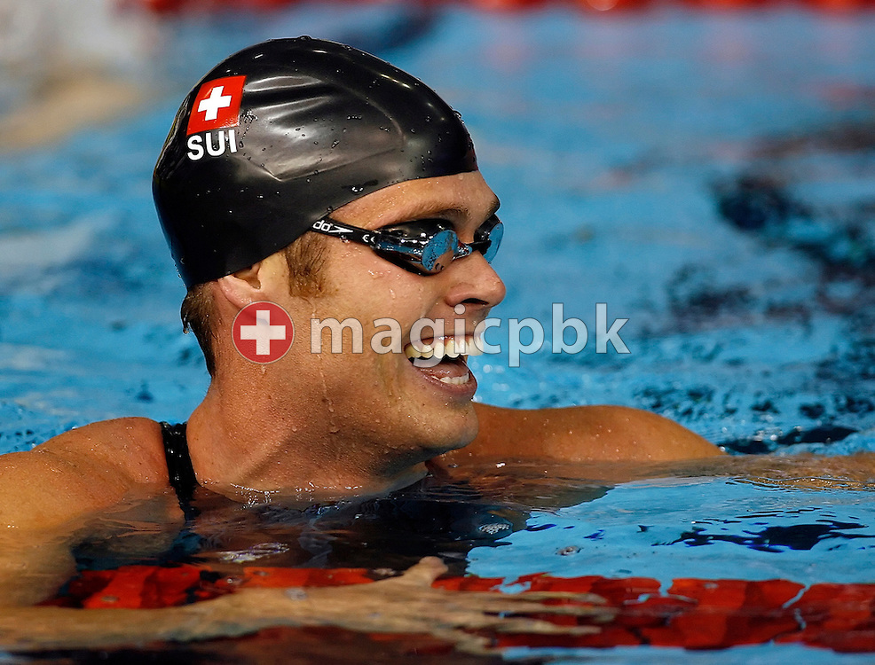Dominik MEICHTRY of Switzerland reacts after finishing second in the Men's 200m Freestyle Final during the European Short Course Swimming Championships in Rijeka, Croatia, Sunday, Dec. 14, 2008. (Photo by Patrick B. Kraemer / MAGICPBK)