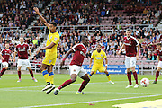 AFC Wimbledon striker Lyle Taylor (33) appeals a decision action during the EFL Sky Bet League 1 match between Northampton Town and AFC Wimbledon at Sixfields Stadium, Northampton, England on 20 August 2016. Photo by Stuart Butcher.