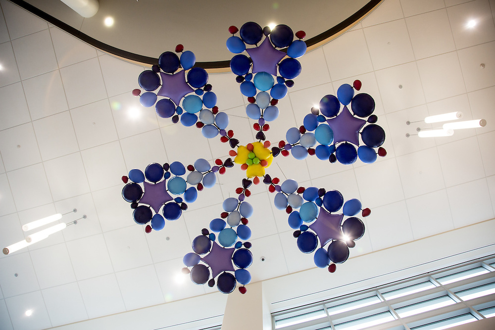 "Health in Bloom: Phlox by Niki Johnson. Sculpture in the entrance to the UW Health at The American Center. Fiberglass, steel and paint, 16'8"" diameter."