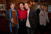 JOHNNY FLYNN; MARK RYLANCE; MACKENZIE CROOK, Opening in the West end of the Royal Court's Jerusalem after a run on Broadway..<br /> WAXY O CONNORS, 14-16 RUPERT STREET, LONDON . 17 October 2011.  <br /> <br />  , -DO NOT ARCHIVE-© Copyright Photograph by Dafydd Jones. 248 Clapham Rd. London SW9 0PZ. Tel 0207 820 0771. www.dafjones.com.