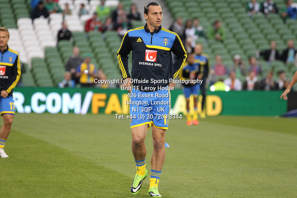 06/09/2013 FIFA 2014 World Cup Qualifying - Group C . Rep of Ireland v Sweden<br /> Zlatan Ibrahimovic during the warm up <br /> Photo: John Halas