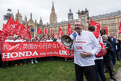 © Licensed to London News Pictures. 06/03/2019. LONDON, UK.  Len McCluskey (R), General Secretary of Unite, addresses workers from Honda's Swindon plant during a demonstration outside the Houses of Parliament calling on MPs to save their factory from closing.  Honda recently announced that the plant will cease production in 2022 amidst uncertainty over the future post-Brexit.  Photo credit: Stephen Chung/LNP