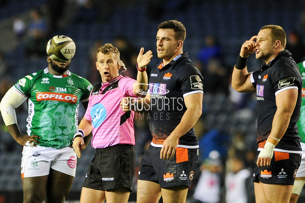 Veteran referree Nigel Owens had his hands full during the Guinness Pro 14 2018_19 match between Edinburgh Rugby and Benetton Treviso at Murrayfield Stadium, Edinburgh, Scotland on 28 September 2018.