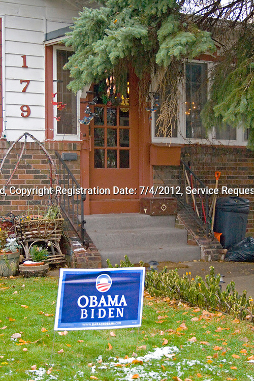 Obama Biden 2008 campaign sign on a residential lawn. St Paul Minnesota MN USA