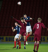 10th November 2017, McDiarmid Park, Perth, Scotland, UEFA Under-21 European Championships Qualifier, Scotland versus Latvia; Scotland's Scott McKenna competes in the air with Latvia's Roberts Uldrikis