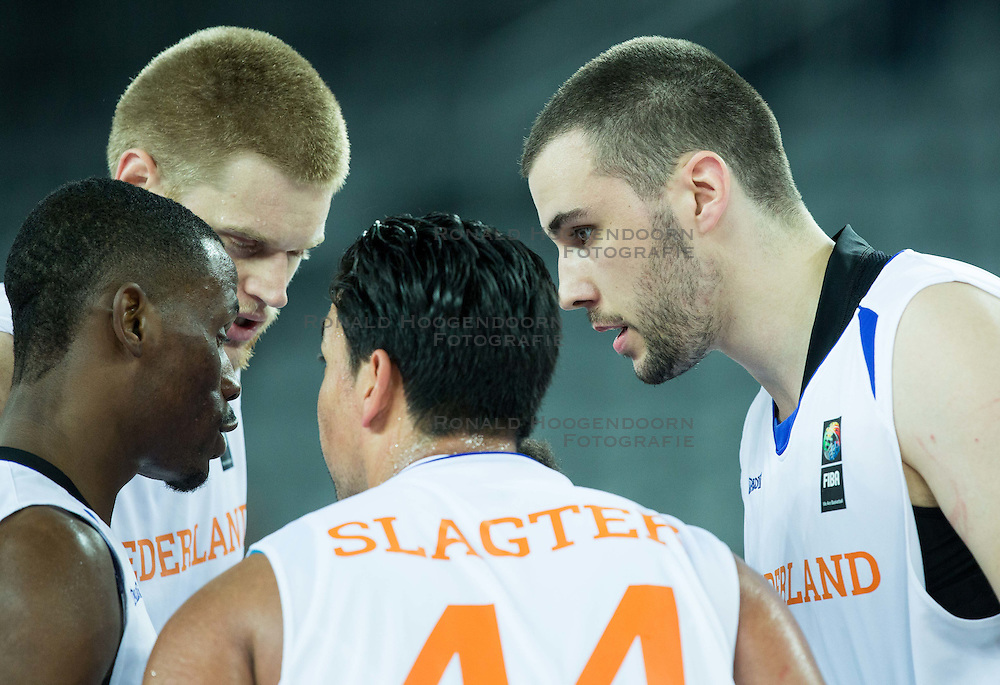 06-09-2015 CRO: FIBA Europe Eurobasket 2015 Nederland - Macedonie, Zagreb<br /> Players of Netherlands during basketball match between Netherlands and Macedonia at Day 2 in Group C of FIBA Europe Eurobasket 2015, on September 6, 2015, in Arena Zagreb, Croatia. Photo by Vid Ponikvar / RHF