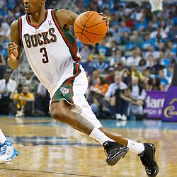 October 27, 2010; New Orleans, LA, USA; Milwaukee Bucks point guard Brandon Jennings (3) drives with the ball against the New Orleans Hornets at the New Orleans Arena. Mandatory Credit: Derick E. Hingle