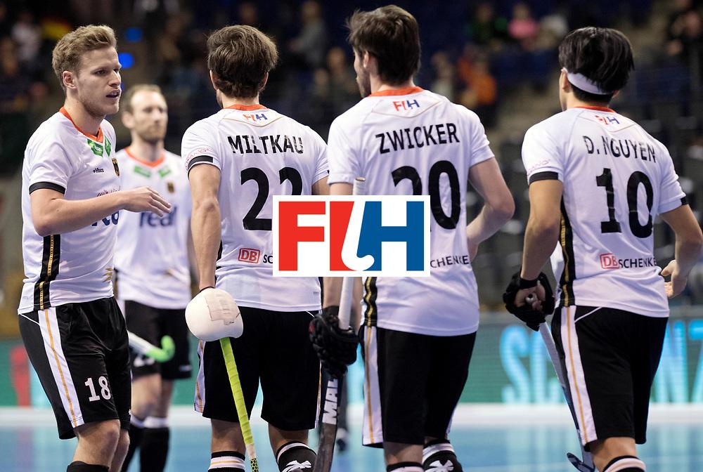 BERLIN - Indoor Hockey World Cup<br /> Men: Germany -  Trinidad &amp; Tobago<br /> foto: Ferdinand Weinke celebrates.<br /> WORLDSPORTPICS COPYRIGHT FRANK UIJLENBROEK