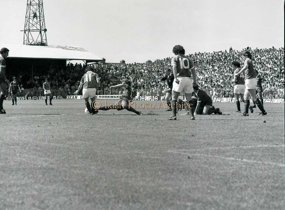 League of Ireland vs Liverpool FC.    (M87)..1979..18.08.1979..08.18.1979..18th August !979..In a pre season friendly the League of Ireland took on Liverpool FC at Dalymount Park Phibsborough,Dublin. The league team was made up of a selection of players from several League of Ireland clubs and was captained by the legendary John Giles. Liverpool won the game by 2 goals to nil..The scorers were Hansen and McDermott.