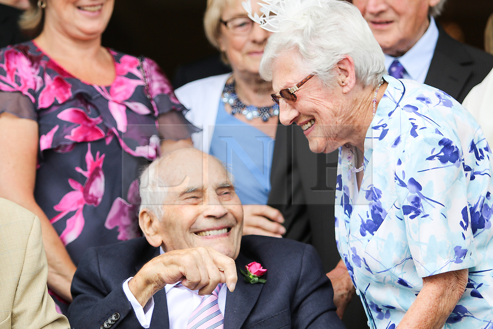 © Licensed to London News Pictures. 13/06/2015. Eastbourne, UK. George Kirby, 103 years old, marries his fiancé, 91 year old Doreen Luckie in a ceremony at the Eastbourne based Langham Hotel owned by George's son Neill Kirby. George and Doreen are thought to be the worlds oldest newlyweds, today June 13th 2015. Photo credit : Hugo Michiels/LNP