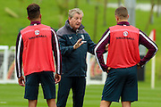 England manager Roy Hodgson instructing his players during the England Training Session at St George's Park National Football Centre, Burton-Upon-Trent, United Kingdom on 7 October 2015. Photo by Aaron Lupton.