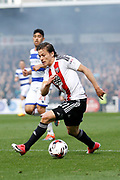 Brentford forward Lasse Vibe (21) during the EFL Sky Bet Championship match between Brentford and Queens Park Rangers at Griffin Park, London, England on 22 April 2017. Photo by Andy Walter.