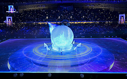 An artist performs during the opening ceremony of the Al Wakrah FIFA World Cup 2022 Stadium in Doha, Capital of Qatar on16 May 2019. The stadium will be a venue for the upcoming Qatar FIFA World Cup 2022 the boasts a retractable roof and an innovative cooling operation, equipping it for all year use. (Credit Image: © Yangyuanyong/Xinhua via ZUMA Wire)