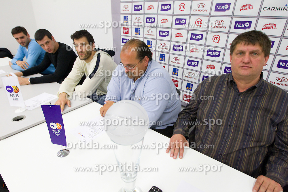 Player Petar Bozic of Partizan, Vlada Jovanovic, coach of KK Partizan, Dragisa Drobnjak of Krka, Aleksandar Dzikic of Krka and  Roman Lisac  during press conference of NLB Basketball League one day before NLB Final Four Tournament 2011, on April 18, 2011 in Arena Stozice, Ljubljana, Slovenia.  (Photo By Vid Ponikvar / Sportida.com)