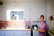 The kitchen of one of the original model homes, which is now the Del Webb Sun Cities Museum, in Sun City, Arizona dates back to its opening day January 1, 1960.