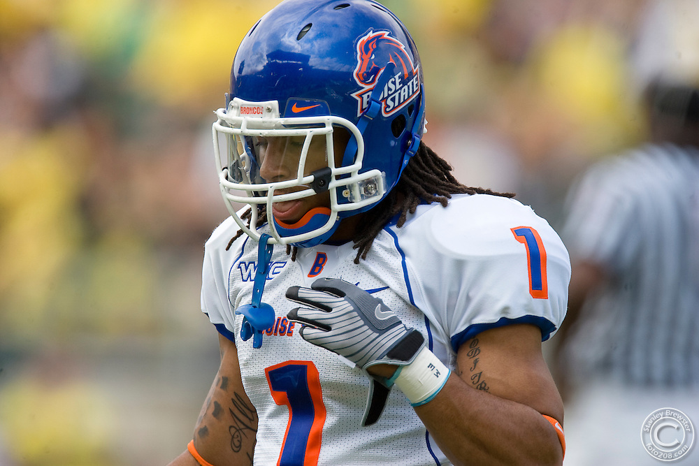 20 September 2008: Boise State defensive back Kyle Wilson (1) takes the field prior to the Boise State football game against the Oregon Ducks. The Broncos went on to defeat the Ducks 37-32 in Autzen Stadium. Mandatory Credit:Stanley Brewster / Southcreek Global