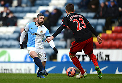 Blackburn Rovers's David Dunn competes with Swansea City's Gylfi Sigurdsson - Photo mandatory by-line: Richard Martin Roberts/JMP - Mobile: 07966 386802 - 24/01/2015 - SPORT - Football - Blackburn - Ewood Park - Blackburn Rovers v Swansea City - FA Cup Fourth Round