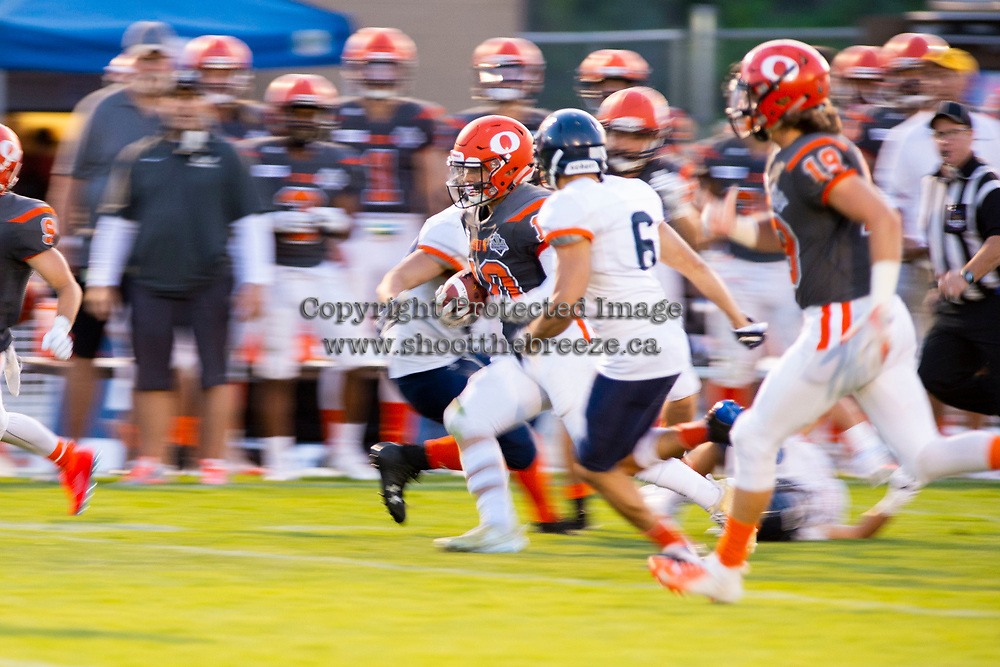 KELOWNA, BC - AUGUST 3:  Conor Richard #10 of Okanagan Sun runs with the ball against the Kamloops Broncos  at the Apple Bowl on August 3, 2019 in Kelowna, Canada. (Photo by Marissa Baecker/Shoot the Breeze)