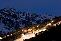 The Snow King ski area glows with life at night in Jackson, Wyoming.
