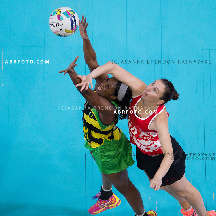 Rachel Dunn intercepts during Australia Vs Jamaica Fast5 Netball.