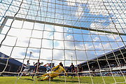Queens Park Rangers defender Toni Leistner (37) at full stretch in front of the Swansea City goal during the EFL Sky Bet Championship match between Queens Park Rangers and Swansea City at the Loftus Road Stadium, London, England on 13 April 2019.