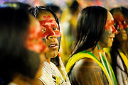 Kayapo women dance before the Indigenous National opening.