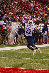 NORMAL, IL - September 21: Joe Logan bobbles a pass several times before controlling the reception in the end zone during a college football game between the ISU (Illinois State University) Redbirds and the Northern Arizona University (NAU) Lumberjacks on September 21 2019 at Hancock Stadium in Normal, IL. (Photo by Alan Look)