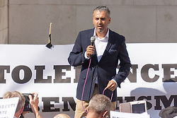 "Royal Courts of Justice, London,  August 31st 2014. Quilliam Foundation leader Maajid Nawaz speaks out against religious intolerance as thousands of Jews and their supporters from London and across the UK demand ""Zero Tolerance for Antisemites"", organised by the Campaign Against Antisemitism"