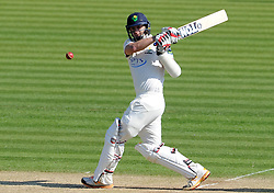 Glamorgan's Dean Cosker pulls the ball. - Photo mandatory by-line: Harry Trump/JMP - Mobile: 07966 386802 - 21/04/15 - SPORT - CRICKET - LVCC County Championship - Division 2 - Day 3 - Glamorgan v Surrey - Swalec Stadium, Cardiff, Wales.