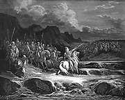 Judas (Jehudah) Maccabaeus (Maccabee), leader of the Jews from 166 BC leading his army into battle. 1 Maccabees 5. From Gustasve Dore's illustrated 'Bible', 1866. Wood engraving