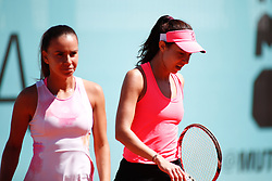 May 9, 2019 - Madrid, MADRID, SPAIN - Irina Bara (ROU) and Mihaela Buzarnescu (ROU) during the Mutua Madrid Open 2019 (ATP Masters 1000 and WTA Premier) tenis tournament at Caja Magica in Madrid, Spain, on May 09, 2019. (Credit Image: © AFP7 via ZUMA Wire)