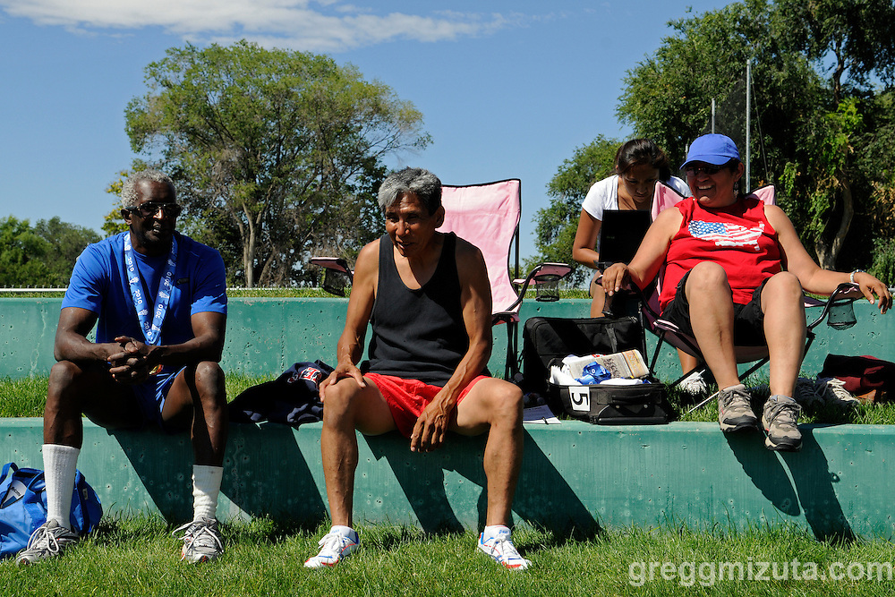 (L to R) James Spencer and Delmar Kelly take a break during The Idaho Senior Games track and field meet held at  Northwest Nazarene University in Nampa, Idaho on August 21, 2010.