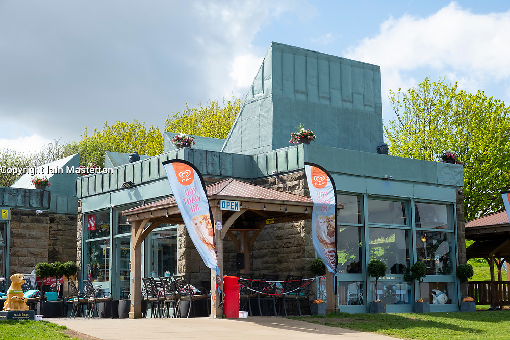 Exterior of Boardwalk Beachclub cafe on Cramond Beach in Edinburgh, Scotland, UK