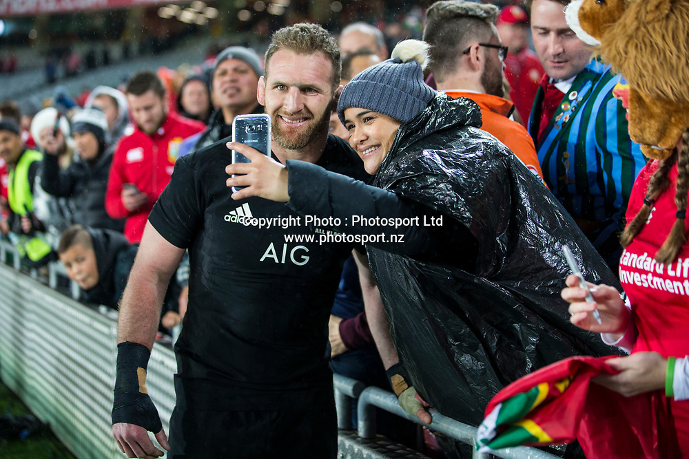 All Black captain Kieran Read with fans after the 30-15 All Black win in the first test match of the DHL Lions Series 2017 played between the All Blacks and the British and Irish Lions at Eden Park, Auckland on 24th June 2017. <br /> Copyright Photo; Peter Meecham/ www.photosport.nz