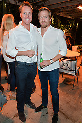 PICTURE SHOWS:-Left to right, HENRY BECKWITH and JACOBI ANSTRUTHER-GOUGH-CALTHORPE.<br /> Tuesday 14th April 2015 saw a host of London influencers and VIP faces gather together to celebrate the launch of The Ivy Chelsea Garden. Live entertainment was provided by jazz-trio The Blind Tigers, whilst guests enjoyed Moët & Chandon Champagne, alongside a series of delicious canapés created by the restaurant's Executive Chef, Sean Burbidge.<br /> The evening showcased The Ivy Chelsea Garden to two hundred VIPs and Chelsea<br /> residents, inviting guests to preview the restaurant and gardens which marry<br /> approachable sophistication and familiar luxury with an underlying feeling of glamour and theatre. The Ivy Chelsea Garden's interiors have been designed by Martin Brudnizki Design Studio, and cleverly combine vintage with luxury, resulting in a space that is both alluring and down-to-earth.