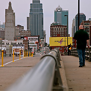 Sidewalk and road along Main Street in the afternoon in downtown Kansas City, Missouri.
