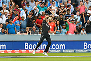 Wicket - Tim Southee of New Zealand celebrates catching Jos Buttler of England during the ICC Cricket World Cup 2019 Final match between New Zealand and England at Lord's Cricket Ground, St John's Wood, United Kingdom on 14 July 2019.