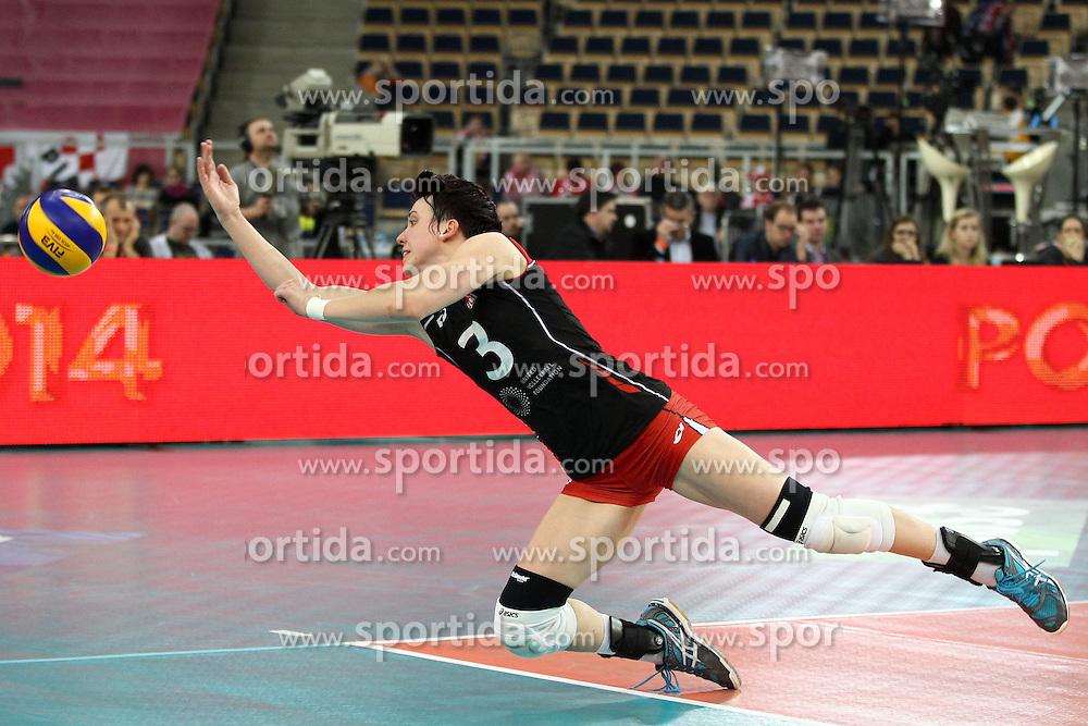 05.01.2014, Atlas Arena, Lotz, POL, FIVB, Damen WM Qualifikation, Polen vs Spanien, im Bild LAURA SIRUCEK OBRONA // LAURA SIRUCEK OBRONA during the ladies FIVB World Championship qualifying match between Switzerland and Spain at the Atlas Arena in Lotz, Poland on 2014/01/05. EXPA Pictures &copy; 2014, PhotoCredit: EXPA/ Newspix/ Maciej Goclon<br /> <br /> *****ATTENTION - for AUT, SLO, CRO, SRB, BIH, MAZ, TUR, SUI, SWE only*****